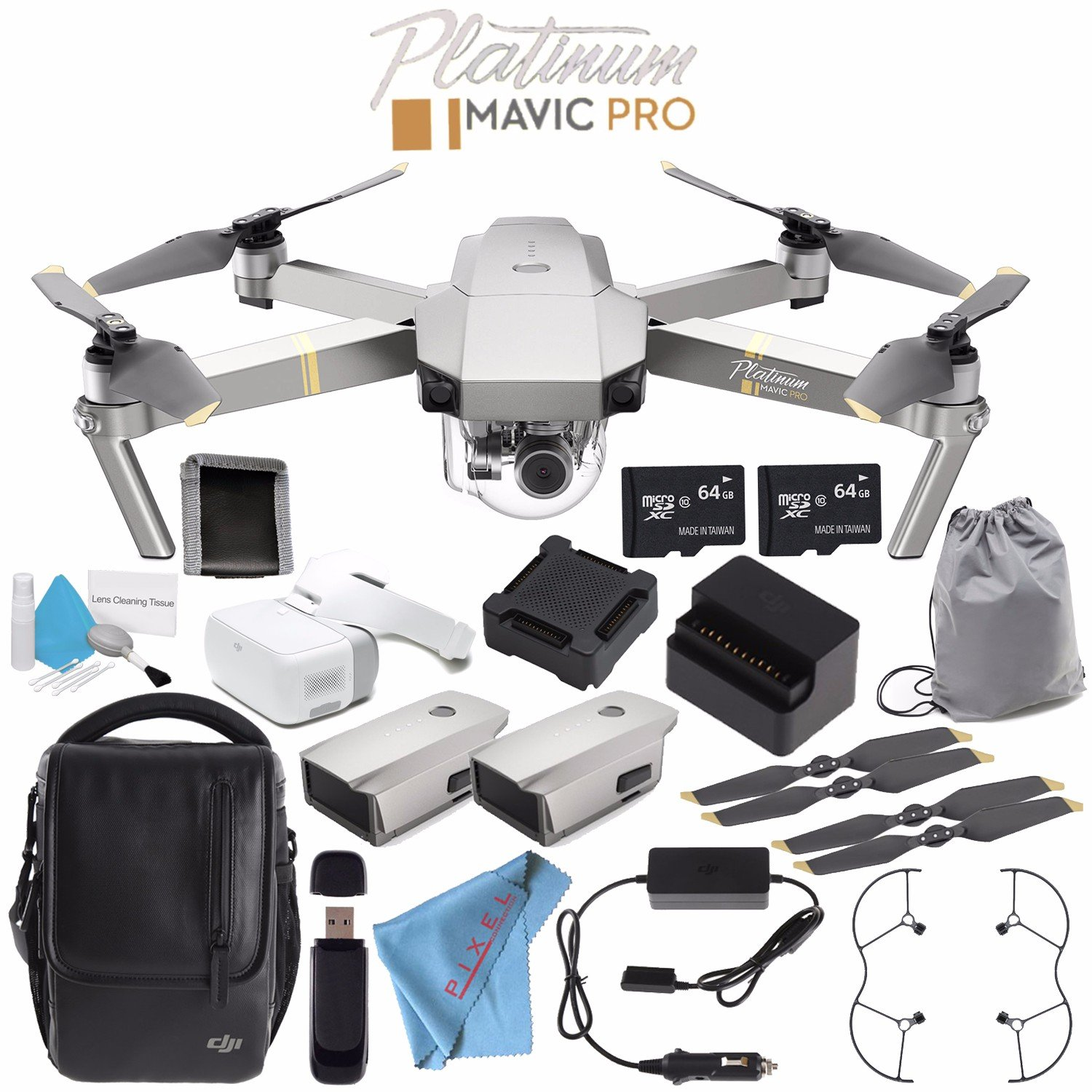 DJI Mavic Pro Platinum Fly More Combo CP.PT.00000069.01 Goggles FPV Headset CP.PT.000672 Goggles Sleeve CP.PT.000878 + Deluxe Cleaning Kit + Memory Card Wallet + 64GB microSDXC Bundle