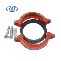FM approved fire protection RED color grooved Rigid coupling pipe fittings
