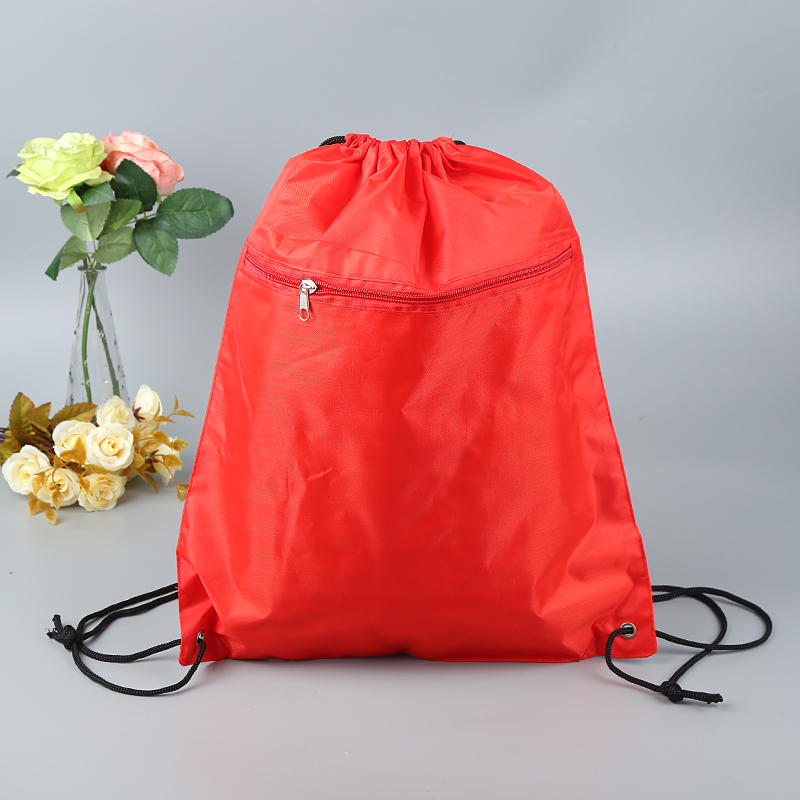 Promotional Red Polyester Sports Drawstring Bag With Front Zipper Pocket