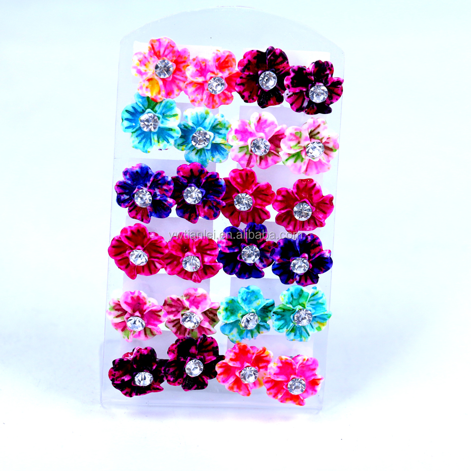 Free Shipping Small Lot Wholesale 12pairs Card Packing Earrings Set Cheap Resin Flower Crtysal Fancy Stud Earrings, Mixed colors in random