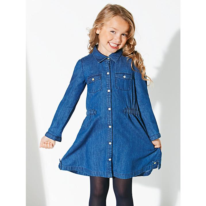 949dcbb9706 Long Sleeve Button Up Children girl s denim dress   Indigo lightweight  Children Girls  Denim Shirt