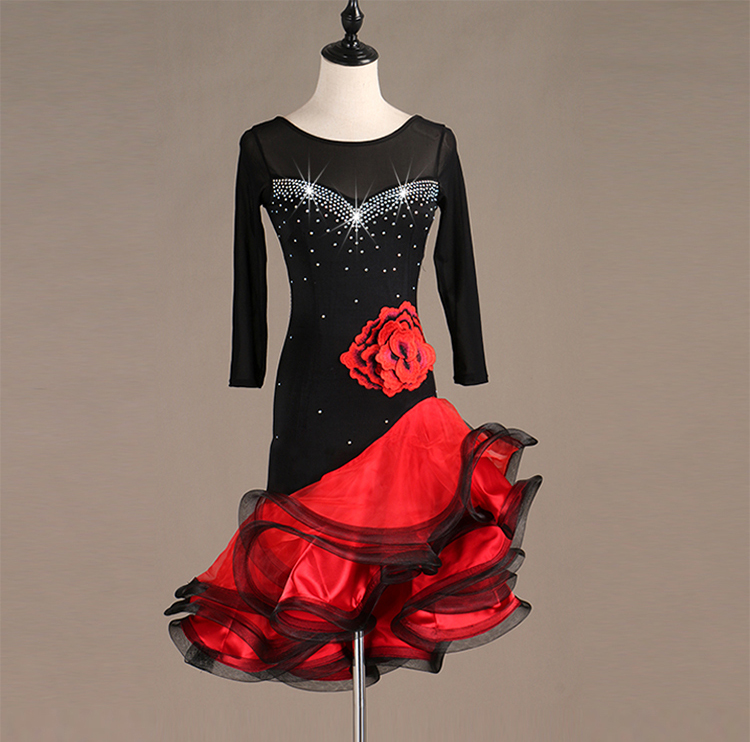 Salsa Dance Dresses Adult Rumba Dance Costumes Women Latin Dress Competition