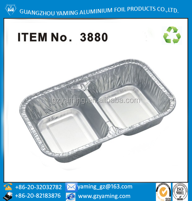 foil containers 2 compartment aluminium foil take out restaurant lunch box