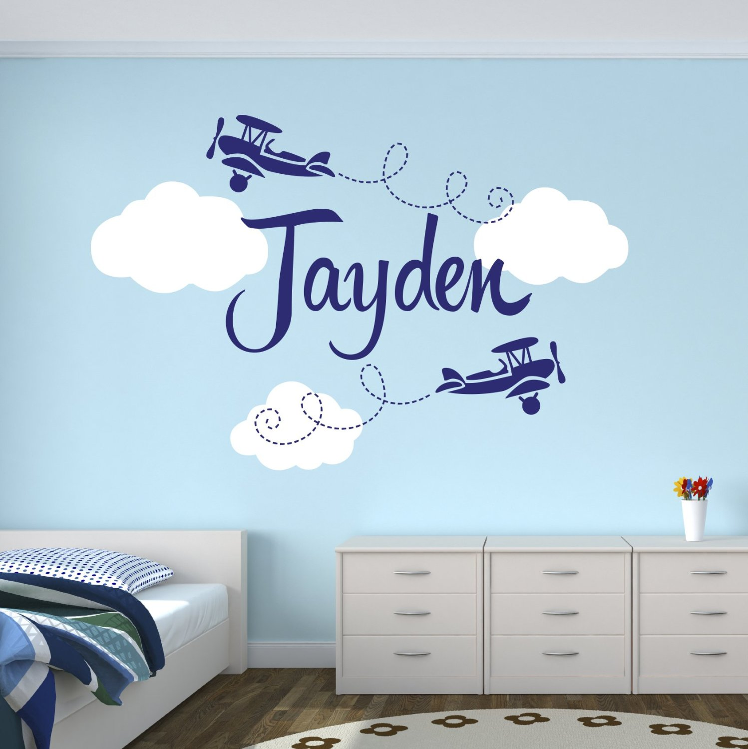 Recommended For You Airplane Wall Decals Custom Boys Name Personalized Biplane Nursery