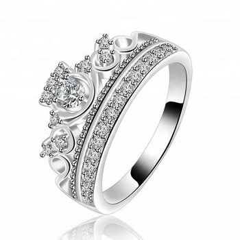Princess Crown Wedding Ring | Hot Sale Copper Cubic Zircon Princess Crown Engagement Wedding Rings