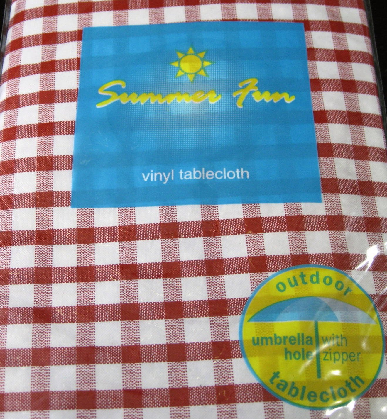 Get Quotations · Summer Fun Red And White Check Flannel Back Vinyl Umbrella  Tablecloths With Hole And Zipper