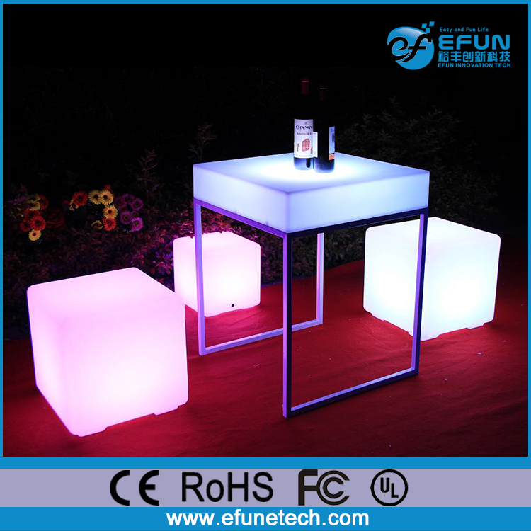 waterproof outdoor decorative illuminated color led plastic cube seating