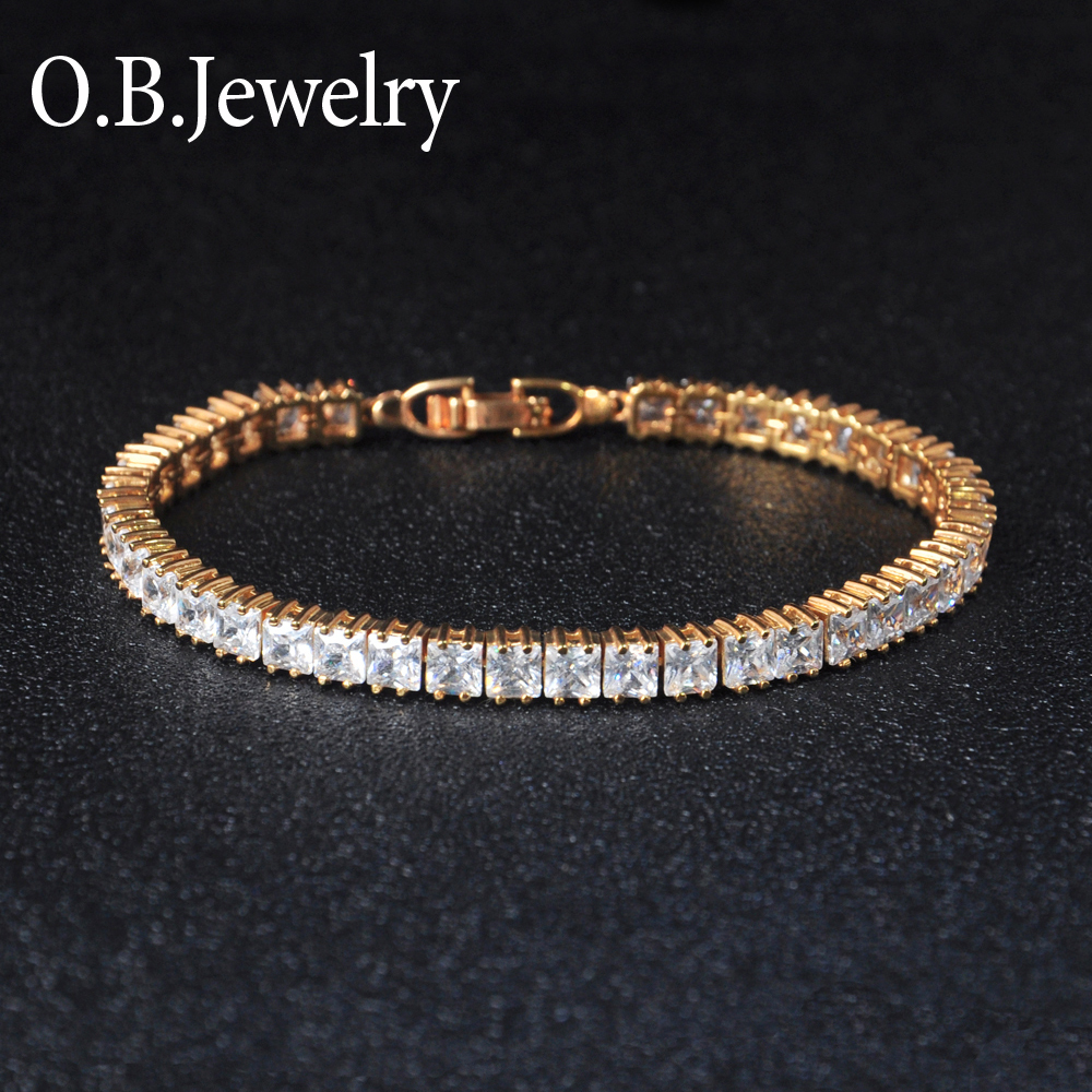 Multi color Wholesale Price 18K Gold Plated AAA Tennis Stone Bracelet