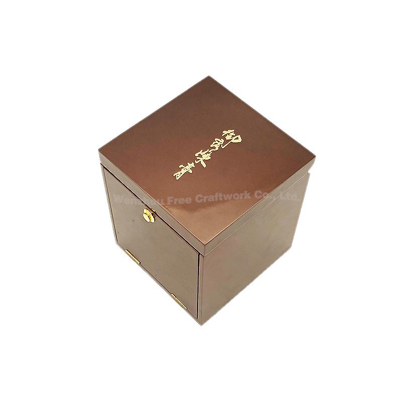 Atacado logotipo Personalizado caixa de presente de madeira MDF acabamento em laca de piano marrom de veludo caixa de chá de embalagens