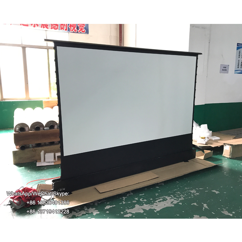 100 inch tab tension electric floor rising projector <strong>screen</strong> <strong>portable</strong> aluminum casing for ultra short throw projector