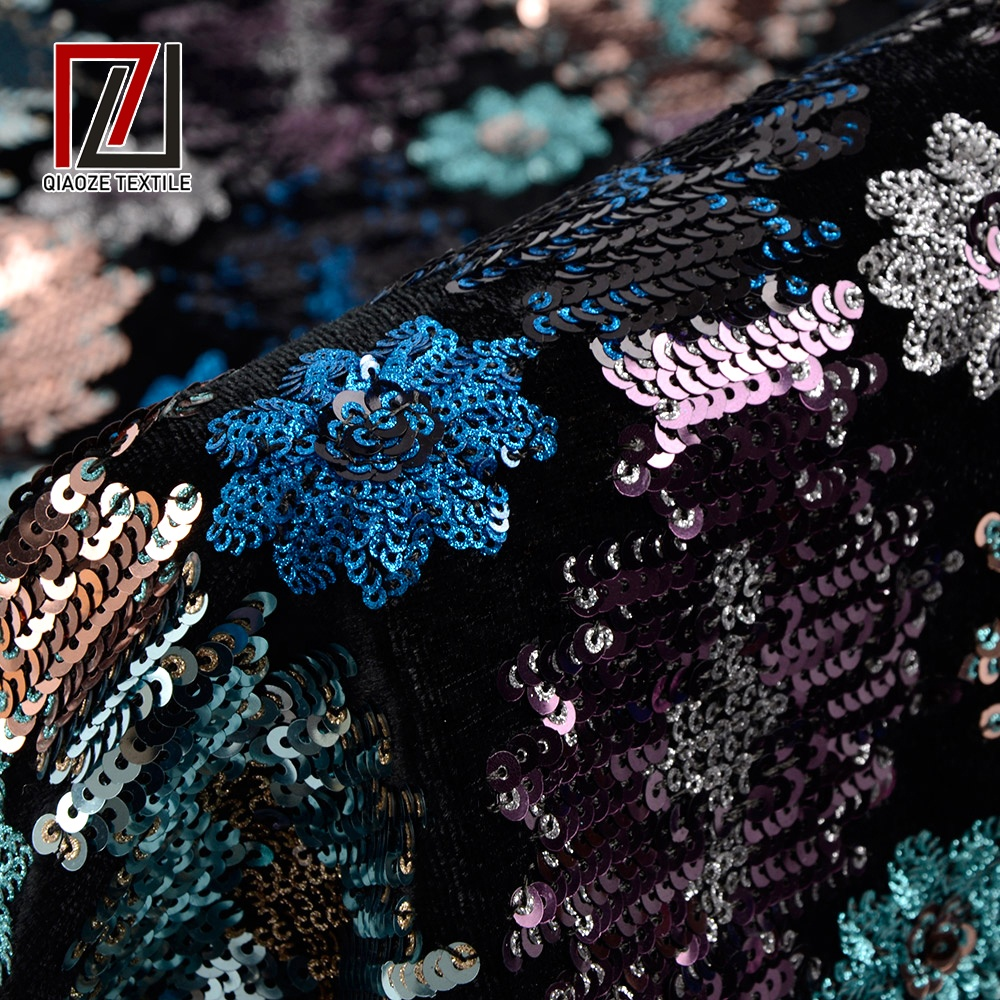 wholesale 100% polyester sequin embroidery knitting shiny velvet fabric for dress