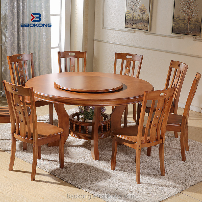 Anitque Home Wooden Furniture Round Rotating Dining Table Malaysia Wood Chinese Product On