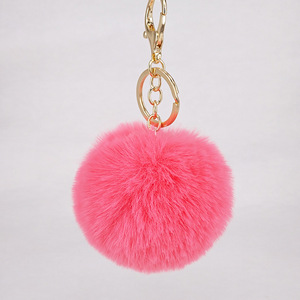 cheap wholesale factory price low moq faux rabbit fur pompom keychain with metal key ring