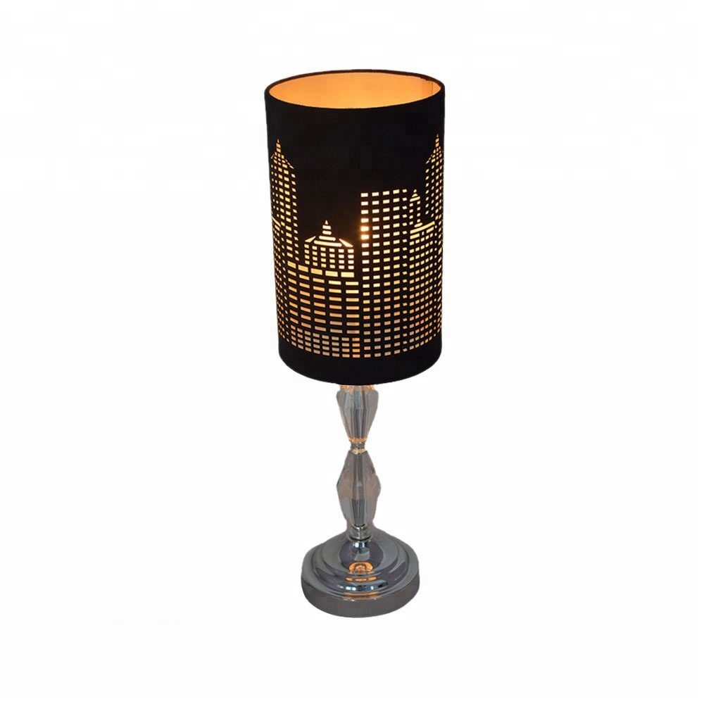 Uk Clical Black Fabric Diy Maze Laser Cut Table Lampshade With Metal Base
