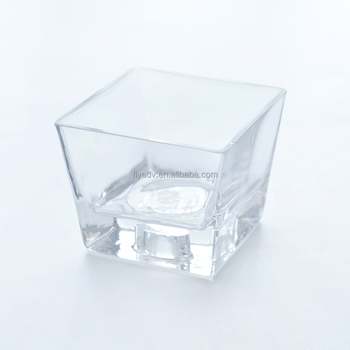 Wholesale Pedestal Glass Vase With Square Shape And Bubble Bottom