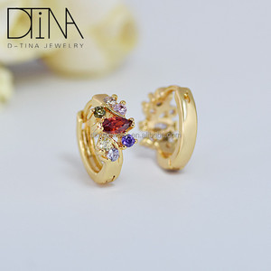 Dtina popular in the fashion of small size round earrings AAA cubic zircon oxide women 18 k gold plated earring