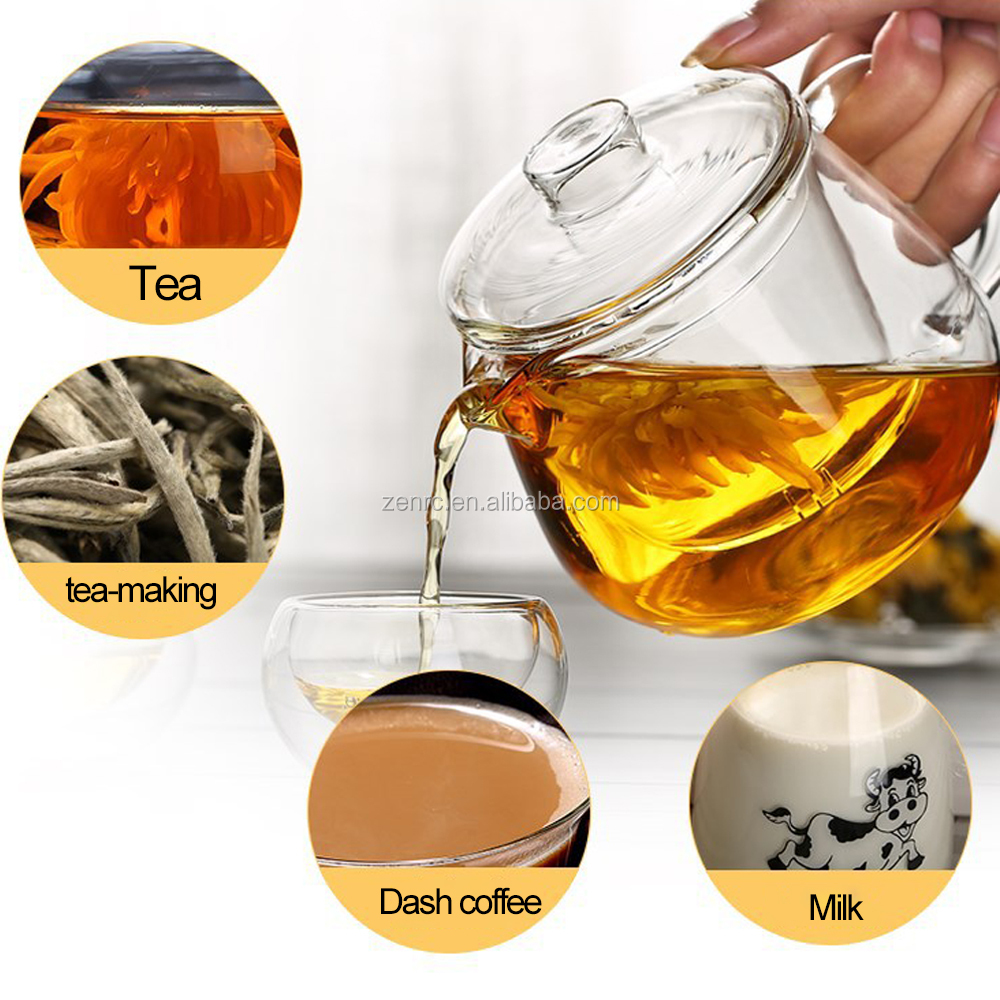 550ml Oem Microwave Oven Tea Pot Penguin Glass Teapots