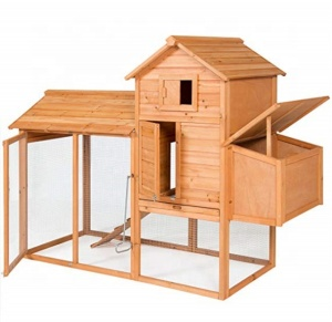 Best Choice Products 80in Wooden Chicken Coop Nest Box Hen House Poultry Cage Hutch w/ Ramp and Locking Doors Brown