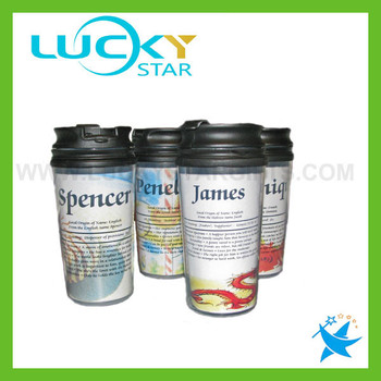 16oz travel mug wholesale plastic cups with lids drinking glasses double wall glass