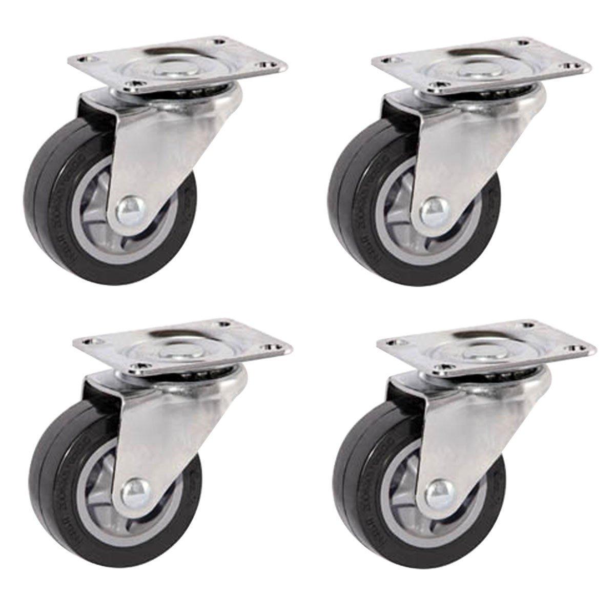 "FactorDuty 4 Pack Caster Wheels Swivel Plate On Black Polyurethane Wheels (2.5"" Wheels no brake)"