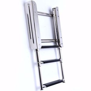 Stainless Steel 3 Step Telescoping Ladder extension Ladder for Marine Boat Folding Ladder Under platform