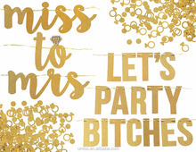 UMISS Miss to Mrs , Let's Party Bitches Banner ,Confetti,Diamond Ring,Bachelorette, Engagement or Wedding Decorations