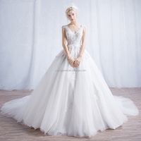 handmade pearl ball gown backless alibaba wholesale wedding dress for women 2017