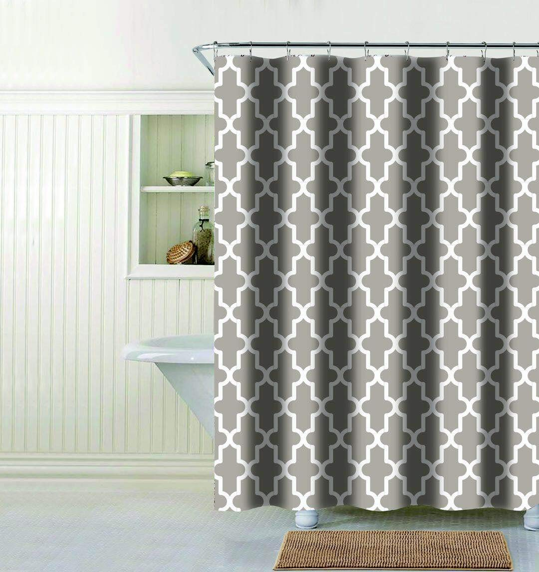 Get Quotations Evolive Faux Linen Textured Single Shower Curtain Trellis Grey