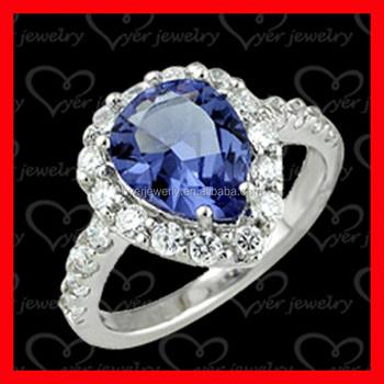 18k Gold Plated Women Aquamarine Diamond 925 Sterling Silver Ring ...