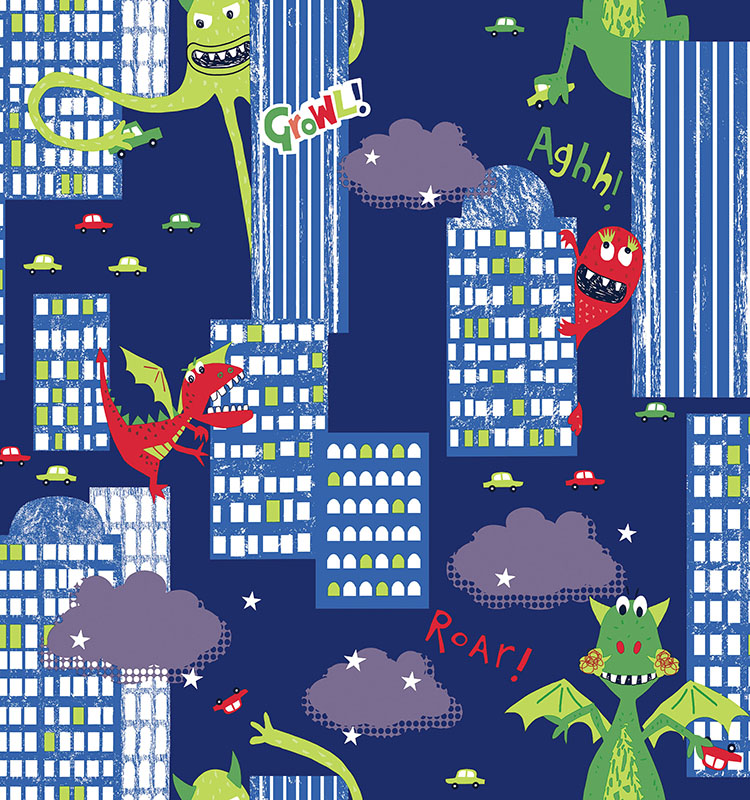 Imaginative Modern Monster Kids Room Non-woven Custom Kids Wallpaper