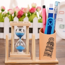 Creative Kids Gifts Sandglass Hourglass Timer Wooden Pen Holder Office Penholder Pen Container