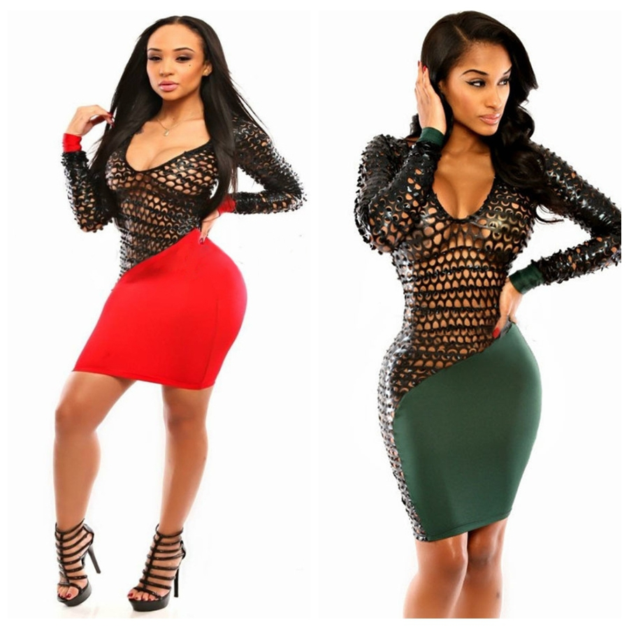 52f4ec8c3693 Get Quotations · Sexy Hollow Out Long Sleeve Bodycon Dresses Night Club  Mini Dress 2015 New Spring Sexy Patchwork