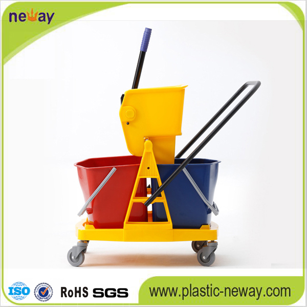 Plastic double mop bucket wringer with wheels