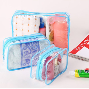 OEM promotional transparent plastic Heat Seal sewing zipper clear pvc cosmetic bag