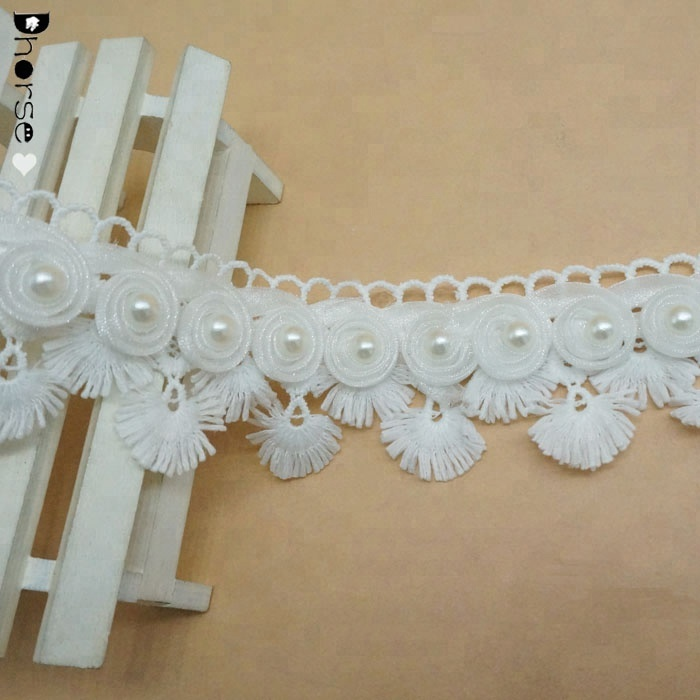 2018 Fashion 3D Flower Embroidery white Fabric Polyester Lace Trim DHDT348