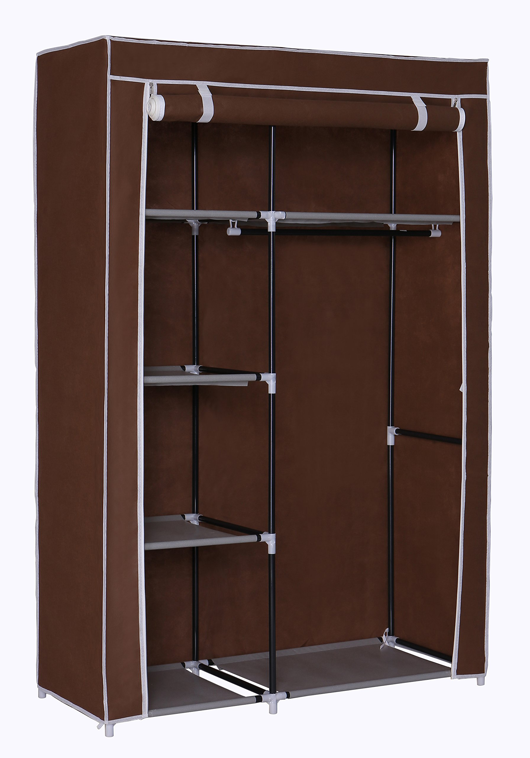 Home-Like Clothes Closet Portable Wardrobe Armoire Cabinet Storage Organizer Portable Closet with Non-Woven Fabric and Hanging Rod Closet Shelves Bedroom Closet (Closet-Brown)