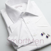 White dress shirt Herringbone with double cuff for cufflinks
