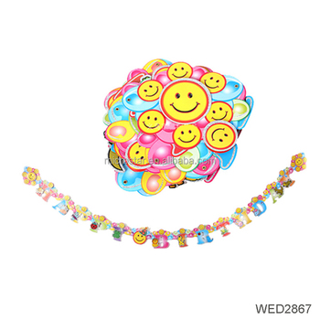 Amazon Hot Selling Emoji Smiley Happy Birthday Party Banner Suppliesdecoration Bunting