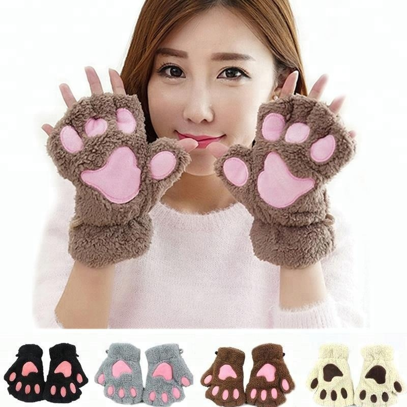 2015 fashional Winter storm claw cute cartoon cat paw gloves