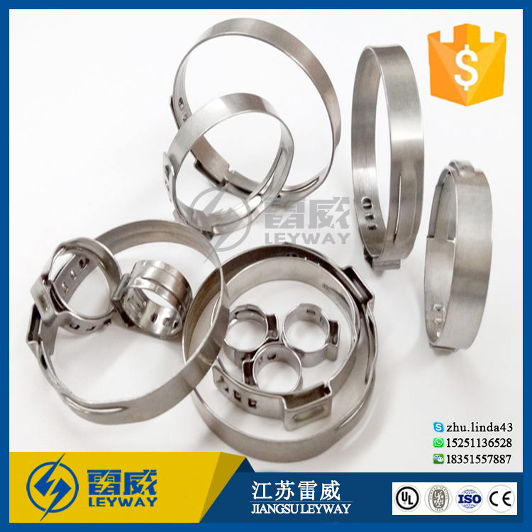 Stainless Steel single ear hose clamp for plastic pipe clip 36.4-39.8mm
