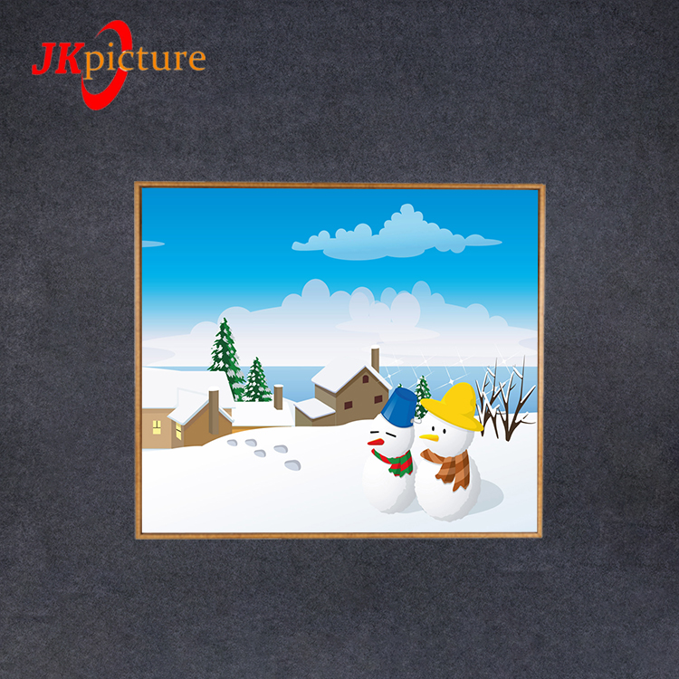 OEM Wholesale Christmas Theme Cute Snowman Painting Picture On Canvas