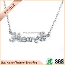 Friele latest design winter Chrismas designs heart and snow-shaped necklace with AAA zircon