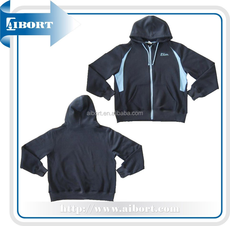Navy Fleece Zip Hood