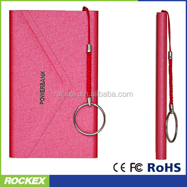 New design leather ultra slim envelope shape power bank for moblie phone with keychain