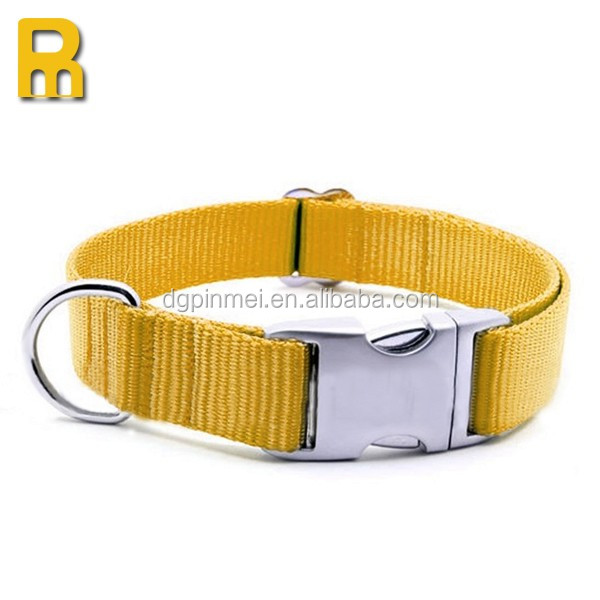 Custom design Ribbon Nylon Metal Buckle Pet Dog Collar