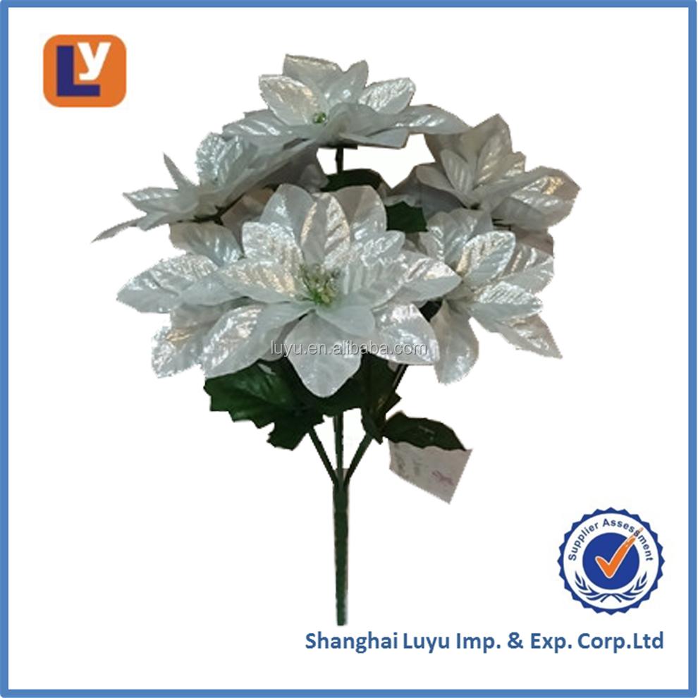 Cheap Wholesale Artificial Silver Color Poinsettia Flower 119cf003 7