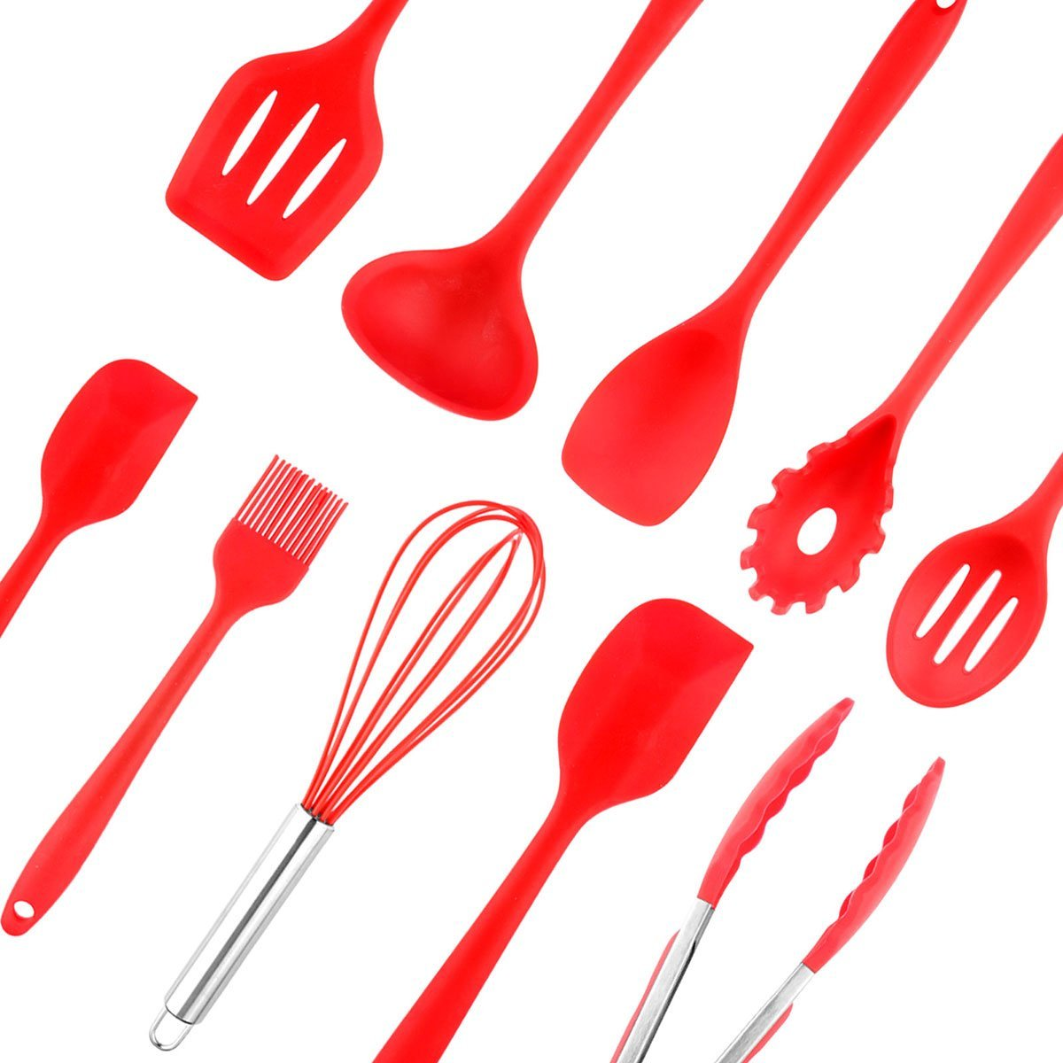 Powstro 10pcs Silicone Kitchen Utensil Set, Cooking Baking Tool Set Heat Resistant FDA Passed Home Cooking Tools Include Spoon/Brush/Whisk/Spatula/Ladle/Turner/Slotted Spoon/Tongs/Pasta Fork