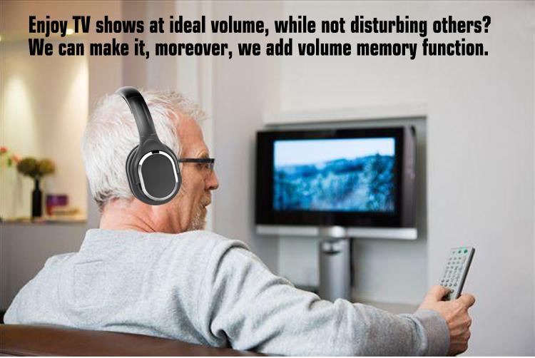 2020 Cordless Over Ear Headphones for TV Headset Shenzhen With UHF Transmitter Wireless TV Headphones