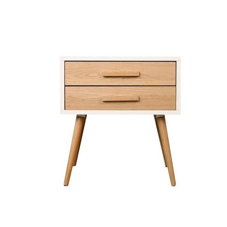 2 drawers white high quality wooden modern bedside table bedroom furniture cabinet with wood legs
