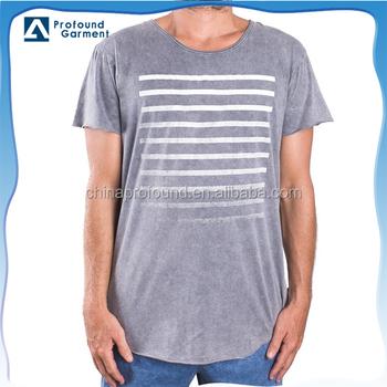 Acid wash custom stripe printing vintaged t shirt short for Custom acid wash t shirts